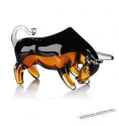 """Sculpture """"Taureau"""" verre · noir / ambre"""